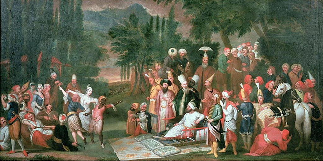 Hunting_Party_with_the_Sultan_Jean_Baptiste_Vanmour_18th_century Wikipedia public domain