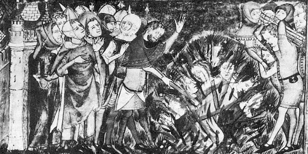 1349_burning_of_Jews-European_chronicle_on_Black_Death_Wikipedia_public_domain