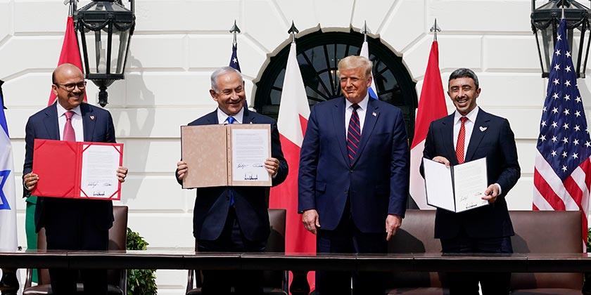Trump_AE_Bahrain_FMs_Netanyahu_White_House_Washington_15.9.20_AP Photo Alex Brandon