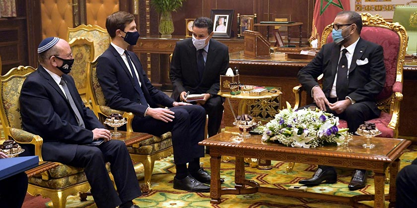 Meir Ben-Shabbat and Jared Kushner meet with King Mohammed VI of Morocco_Amos Ben-Gershom_GPO